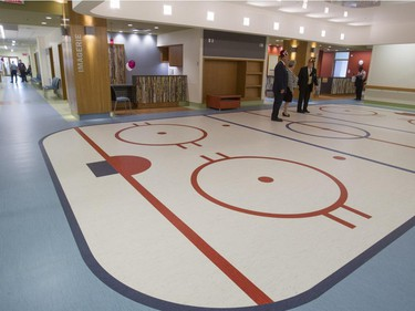 A reception/waiting area with a hockey theme at the new $127-million Shriners Hospital for Children Thursday, August 20, 2015.