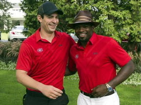 Canadiens goaltender Carey Price has a laugh with defenceman P.K. Subban before start of the team's annual charity golf tournament on Sept. 10, 2015 at Laval-sur-le-Lac.