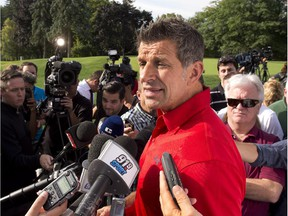 Canadiens general manager Marc Bergevin speaks with the media before the team's annual charity golf tournament at Laval-sur-le-Lac on Sept. 10, 2015.