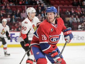 Canadiens defenceman Jeff Petry in action against the Ottawa Senators during NHL game at Montreal's Bell Centre on March 12, 2015.