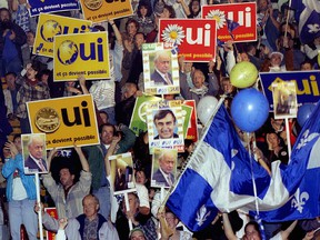 Sovereignists rally at the Verdun Auditorium on Oct. 25, 1995.
