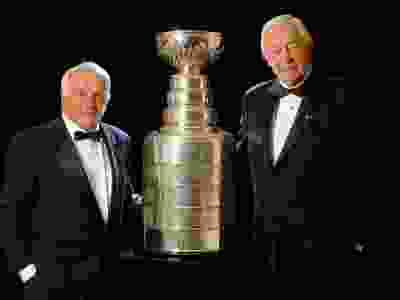 Legendary Canadiens captains Henri Richard (left) and Jean Béliveau in a 2007 portrait with the Stanley Cup which they won as players a combined 21 times during their Hall of Fame careers (Richard 11, Béliveau 10).