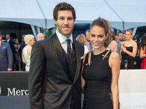 """When Brandon Prust lived in Montreal, """"I like to believe that we were a power couple,"""" says Maripier Morin, pictured with Prust at a Grand Prix party in 2014. The couple are committed to their long-distance relationship now that Prust is in Vancouver."""