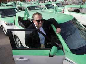 Alex Taillefer of the company Téo with a fleet of electric car taxis in Montreal, Wedesday Nov. 18, 2015.