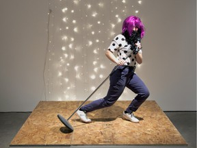 A stage has been set up at Galerie de l'UQÀM for members of the public to become artists themselves as part of the Do It Montréal exhibition.