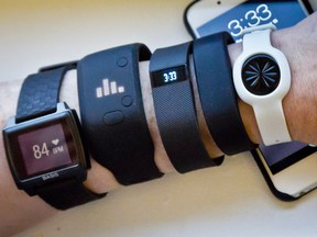 Fitness trackers, from left, Basis Peak, Adidas Fit Smart, Fitbit Charge, Sony SmartBand, and Jawbone Move.