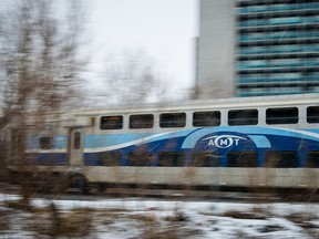 An AMT commuter train drives in 2015.