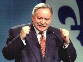 """Jacques Parizeau comes out fighting in his speech to OUI supporters at Palais des Congres on referendum night, Oct. 30, 1995. """"I'll never forget how I felt on Oct. 30, 1995 while the votes in the second referendum on sovereignty were being counted. Things were looking bad for those of us who wished to see Canada prosper as one country with three nations, French, English and Indigenous,"""" Lise Ravary writes."""