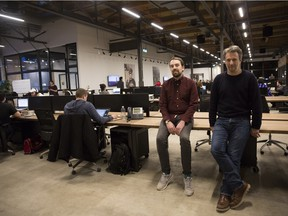 Head of Content Patrick McGuire, left, and Senior Vice President of production Michael Kronish, right, pose for a photo at the Vice Canada office in Toronto on February 2, 2016.
