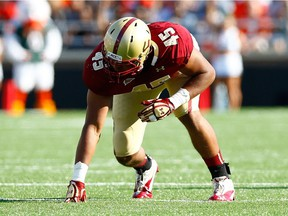 Mehdi Abdesmad #45 of the Boston College Eagles in action against the Miami Hurricanes during the game on Sept. 1, 2012 at Alumni Stadium in Chestnut Hill, Mass.