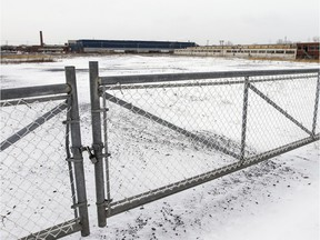 A gate blocks access to the former Jenkins Valves property on St. Joseph Blvd. in the Lachine borough of Montreal