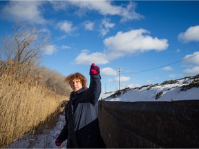 Lisa Mintz, activist with Sauvons la falaise, explains the location of the falaise St-Jacques , the escarpment that sits adjacent to the Turcot Yards in Montreal.