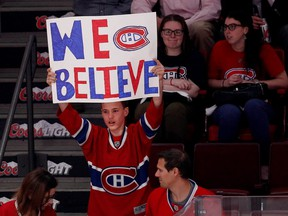 A young fan shows support for the Canadiens before the team faced the Tampa Bay Lightning during NHL Eastern Conference semifinal in Montreal on May 9, 2015.