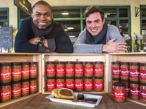 Business partners Stanley Dumornay, left, and Jason Delis, with their version of mamba: it's made from dry-roasted Haitian peanuts, organic cane sugar, salt and hot chili pepper.
