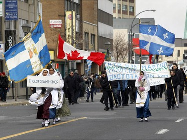 Participants in the annual Greek independence Day parade braved the cold on Sunday, April 3, 2016, on Jean-Talon Blvd. in Montreal.