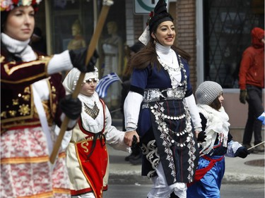 Participants were all smiles despite the cold weather during the annual Greek independence Day parade on Sunday, April 3, 2016,  in Montreal.