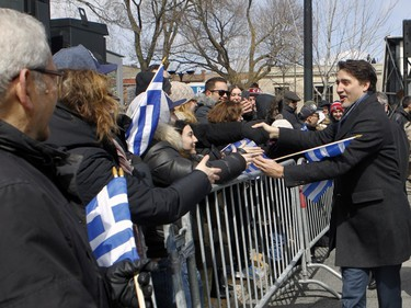 Prime Minister Justin Trudeau turned up to participate in the annual Greek Independence Day parade on Sunday, April 3, 2016, in Park Extension.