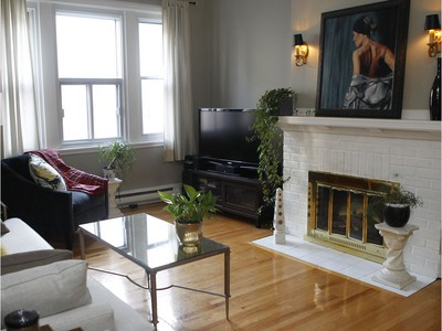 The living room has a gas fireplace. (Marie-France Coallier/ MONTREAL GAZETTE)