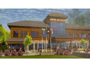 Artists drawing of the preposed $10-million town hall complex for the town of St-Lazare.  (Peter McCabe / MONTREAL GAZETTE)