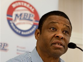 Warren Cromartie, heads the Montreal Baseball Project which is looking to bring a major-league team back to Montreal. Cromartie is pictured in Montreal on Tuesday, September 24, 2013 as he speaks to the media.
