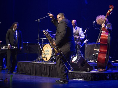 MONTREAL, QUE.: JULY 9, 2016 -- A trombone player with The Preservation Hall Jazz Band dances, as they brought the sounds of New Orleans  at the Montreal International Jazz Festival at Theatre Maisonneuve in Montreal, Saturday July 9, 2016.  (Vincenzo D'Alto / Montreal Gazette)