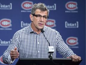 Montreal Canadiens General Manager Marc Bergevin speaks to reporters in Brossard, Que., Wednesday, June 29, 2016, where he answered questions regarding the trade of P.K. Subban to the Nashville Predators.