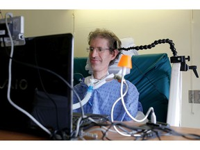 MONTREAL, QUE.: JULY 23, 2013--Archie Rolland depends on a ventilator to breath, to communicate, he types one letter at a time using special glasses that interact with a laptop that sits on his hospital bed. Rolland is in the advanced stages of a neurodegenerative disease called ALS or Lou Gehrig's disease and his lived at the The Montreal Chest Institute where he is pictured in Montreal on Tuesday July 23, 2013.  (Allen McInnis / THE GAZETTE)  ORG XMIT: 47388 ORG XMIT: POS1307231534456961