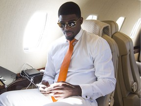 Montreal Canadiens' P.K. Subban, gets ready for for flight to Toronto aboard private jet leaving Montreal June 10, 2016.
