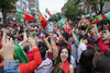 Soccer fans celebrate Portugal's victory over France in the UEFA Euro 2016 final on St. Laurent boulevard in Montreal on Sunday, July 10, 2016.