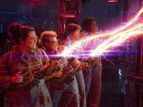 """Melissa McCarthy, Kate McKinnon, Kristen Wiig and Leslie Jones appear in a scene from, """"Ghostbusters."""" (Sony Pictures via AP)"""