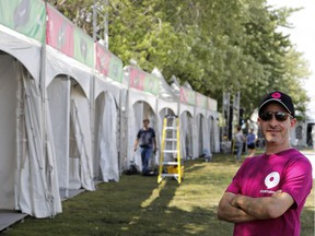Phil Telio, Startupfest co-founder, stands on the grounds of the Startupfest in Montreal on Monday July 11, 2016. The festival is set to open this Wednesday morning.