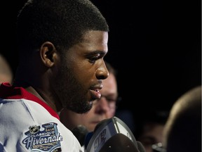 Former Montreal Canadiens defenceman P.K. Subban speaking to the media while wearing the Canadiens jersey for the 2016 Bridgestone NHL Winter Classic in Montreal on Friday November 6, 2015.