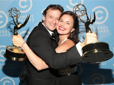 Concordia alumni and comedy writer Barry Julien celebrates  an Emmy win with co-writer Meredith Scardino for their work on The Colbert Report, at the Comedy Central Creative Arts Emmy Party in 2014.