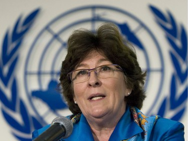 United Nations High Commissioner for Human Rights Louise Arbour addresses a news conference in Mexico City in 2008. The former Canadian magistrate strengthened the UN Office of the High Commissioner for Human Rights during her mandate, observers said.