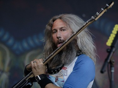 Troy Sanders of the American heavy metal band Mastodon performs on Day One of the Heavy Montréal music festival at Jean-Drapeau Park in Montreal on Saturday, August 6, 2016.