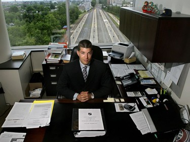 Julien Brisebois, photographed in his office at the Bell Centre in 2005 when he was the Montreal Canadiens' lawyer, is now the assistant general manager of the Tampa Bay Lightning.