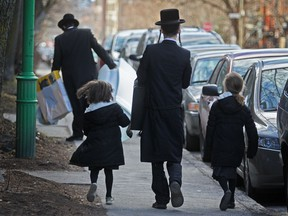 Hasidic Jews on Hutchison St. in Montreal in April 2012.