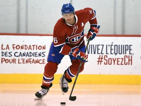 Shea Weber skates in a Canadiens uniform for the first time at the club's practice facility in Brossard on Aug. 8, 2016. The Canadiens acquired Weber from the Nashville Predators on June 29 in exchange for P.K. Subban.