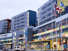 The entrance to the Montreal Children's Hospital at the MUHC Glen site.