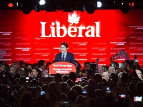 Newly elected prime minister Justin Trudeau speaks to supporters at the Liberal Party election night headquarters in Montreal on Tuesday, Oct. 20, 2015.