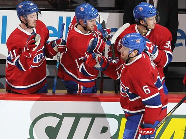 Shea Weber celebrates his goal with Paul Byron (41), Torrey Mitchell (17) and Brian Flynn (32) during second period NHL action in Montreal on Thursday October 20, 2016.