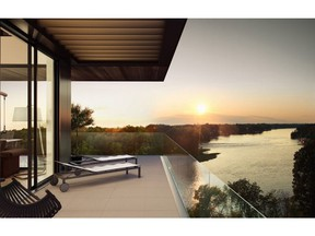 This image  is a composite. It includes a rendering of a finished unit in the Laval sur le Lac complex and a photograph of the Mille-Iles River that was taken by a drone programed with the penthouse elevations. This image is used to sell the view, the real view. (Image courtesy of the developer)