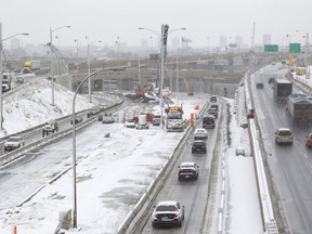 Construction continues around the Turcot Interchange as the new Route 136, centre, to downtown Montreal opens Nov. 21, 2016. The 136 bypasses Hwy. 720, which is closed for good.