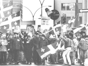 """A pro-French Language Charter demonstration in downtown Montreal in the 1980s: """"The fear and resentment it reflects, the imposing weight it carries, and the assimilative Visage"""" Bill 101 presents are all passé, Deepak Awasti and Murray Levine write."""