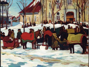 After Grand Mass, Berthier-en-Haut 1927, by Kathleen Moir Morris, a member of the Beaver Hall group, which has a current exhibition at the Montreal Museum of Fine Arts.