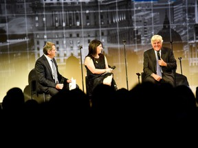 JAY ON STAGE: Centennial chairs Gail Adelson-Marcovitz and Jack Hasen moderate questions with legendary comedian Jay Leno at the Federation CJA 2016 campaign closer and official centennial launch.