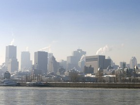 Haze hungs over downtown Montreal on a sunny Saturday, December 19, 2009 as the city was under an Environment Canada-issued smog alert.