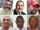 The six victims of a shooting at a Quebec City mosque, Sunday, Jan. 29, 2017. (Top row, from left): Azzeddine Soufiane, Khaled Belkacemi, Aboubaker Thabti. (Bottom row, from left): Abdelkrim Hassane, Mamadou Tanou Barry, Ibrahima Barry.
