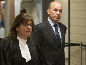The court has dealt with about two dozen motions since the Contrecoeur fraud trial started in February 2016. Frank Zampino, the former No. 2 politician at Montreal city hall (seen here in a file photo from June 17, 2016 with his lawyer Isabel Schurman), former construction magnate Paolo Catania and others are on trial in connection with the 2007 sale of city-owned land known as Faubourg Contrecoeur.