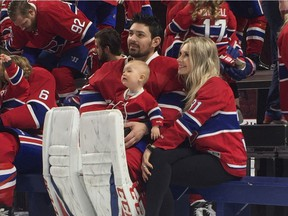 Carey Price with wife Angela and daughter Liv Anniston during Canadiens photo day at the Bell Centre in Montreal on March 27, 2017. Credit: courtesy of Montreal Canadiens